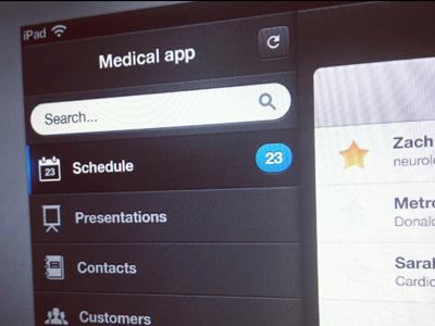 iPad medical app ipad app ui medical schedule dashboard dark customers ux retina doctor mobile