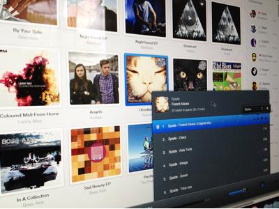 Music player ui player web app music playlist cat blue audio volume social covers sound dark light feed users play
