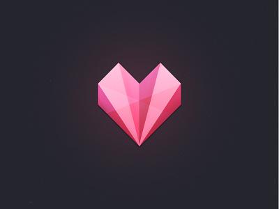 Heart_app splash page icon ios iphone app heart glass red stone glow logo diamond splash loading