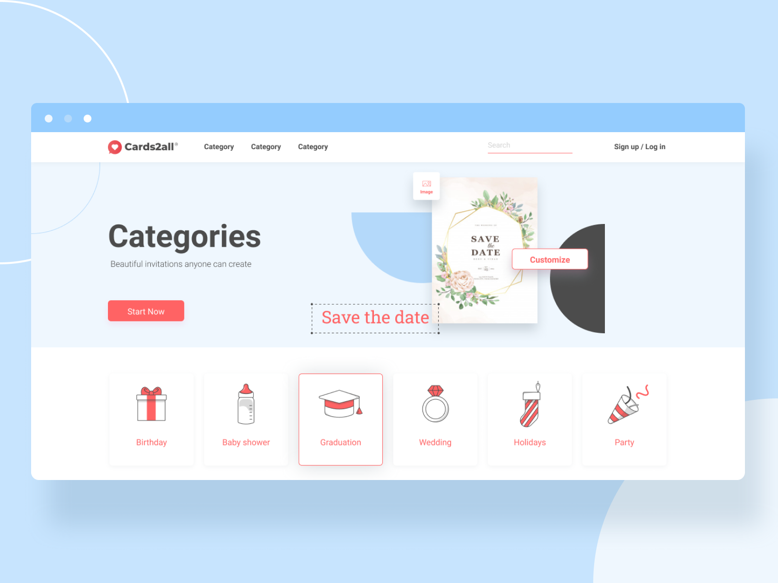 Invitation Editor - categories page by Chen Kopolovich on Dribbble