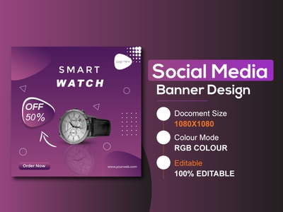 Social Media Banner | Web Banner l Watch Banner corporate flyer restaurant logo facebook post facebook ads web banner web design ads design adobe photoshop product banner watch banner templates instagram banner ad brand identity facebook cover advertising social media design instagram template instagram stories instagram post