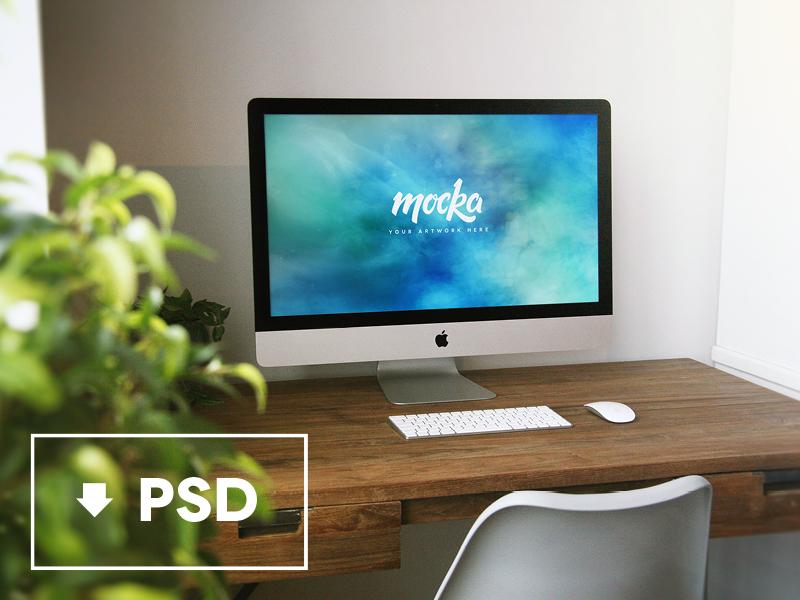 Mocka iMac Freebie unique mockup imac high quality free download apple