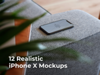 12 Realistic iPhone X Mockups ui smart object serie responsive realistic new mockup mocka x iphonex phone ios photoshop high quality psd easy download design artwork apple