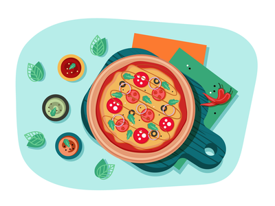 Food Illustration salami delicious cook meal cooking pizzeria vector pizza food illustration