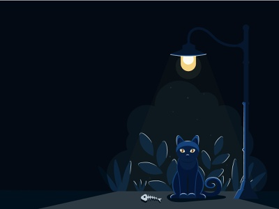Cat and Light night cats sweet cat cartoon character vector illustration shadow light cat lover cat