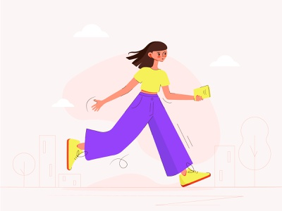 Hurry Up flat style girl flat girl wolking girl running in rush hurry up girl vector illustration