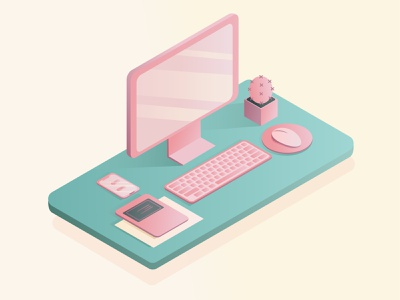 Workplace in isometry graphic design pink gradient gradient computer isometric computer workplace in isometry workplace isomtery isometric vector illustration