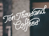Ten Thousand Coffees script logo