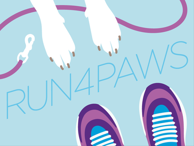 Run4paws Illustration flat shoes running paw dog vector graphic illustration