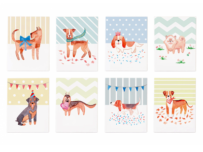 Dog-Themed Hand-Drawn Greeting Cards dogs greeting cards illustration watercolour watercolor