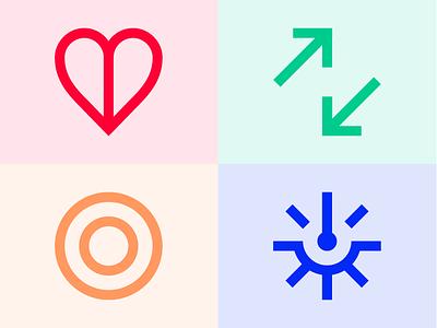 Format Values simplicity trust care imapct target arrow heart icons