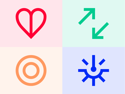 Format Values simplicity trust care imapct target arrow heart icons