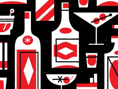 Season 6! illustration drinks bottles cocktails glasses bar pattern retro vintage grit texture