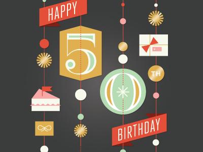 50th Birthday Card card happy birthday illustration glitter sparkle 50 garland