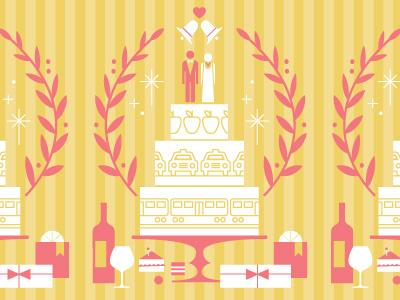 New York Magazine Weddings illustration wedding bride groom party reception wine gifts cake wedding cake