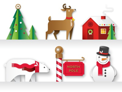 Market Pantry Illustrations christmas holiday illustration christmas tree reindeer polar bear north pole snowman cottage festive