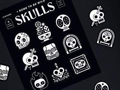 Skulls Sticker Sheet - Club Kiddo stickers spooky skull skulls club kiddo halloween design kids vector illustration