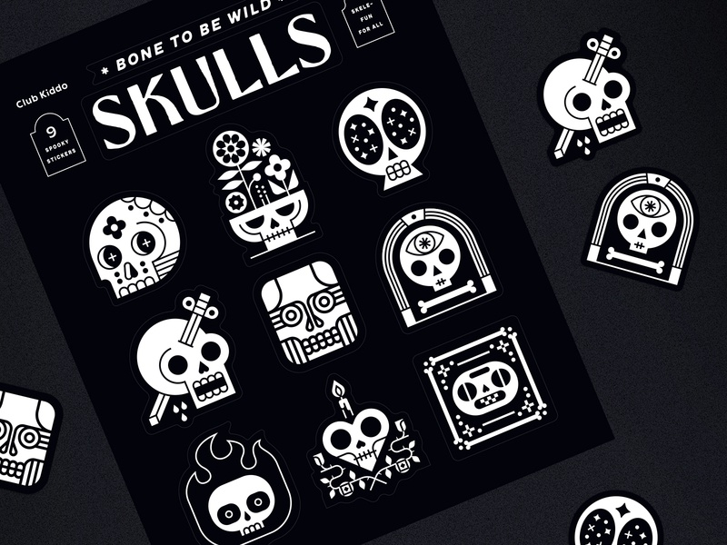 Skulls Sticker Sheet - Club Kiddo stickers spooky skull skulls club kiddo halloween design kids vector illustration