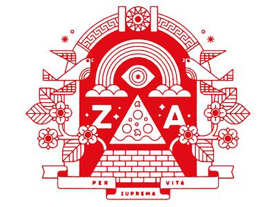 Per Suprema Vita the pizza party za pizza tshirt vector club kiddo design kids illustration