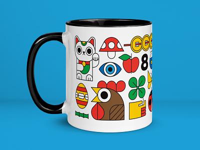 Your Lucky Mug shopping colorful lucky mug good luck lucky cat lucky charms lucky cup coffee mug coffee vector illustration