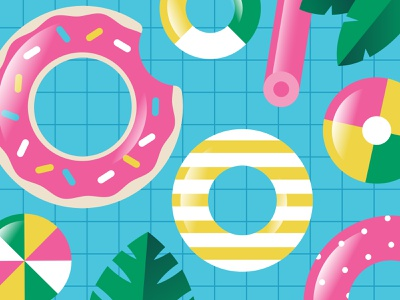 Pool Time! water summertime fun floats swimming summer pool swim vector kids illustration