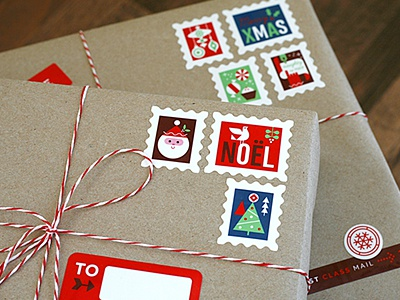 Holiday Mail Stickers christmas stickers sticker sheet holiday labels gift wrap illustration geometric fun vintage