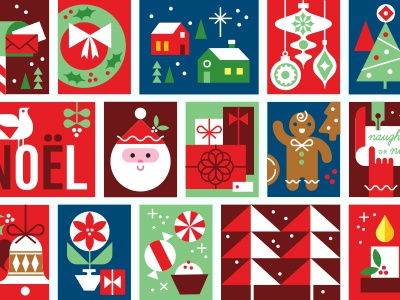 Holiday Mail Stickers - Stamps Detail vintage fun geometric illustration gift wrap labels holiday sticker sheet stickers christmas