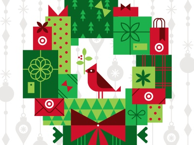 Put a bird on it! bird cardinal holidays christmas target wreath gifts packages presents bow