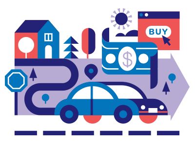 Real Simple - Car Insurance car real simple editorial illustration