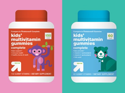 up&up Kids' Vitamins packaging cute bear monkey kids illustration