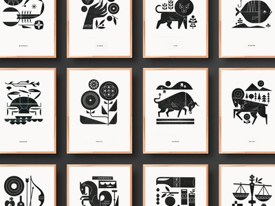 Zodiac Print Series series print letterpress art zodiac