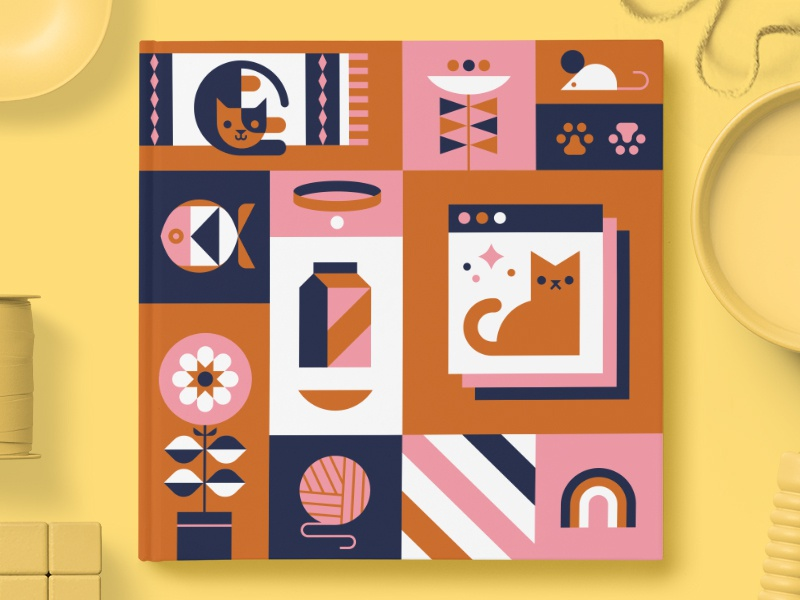 Chatbooks Limited Edition Covers — Purrfection kitties cat grid illustration book