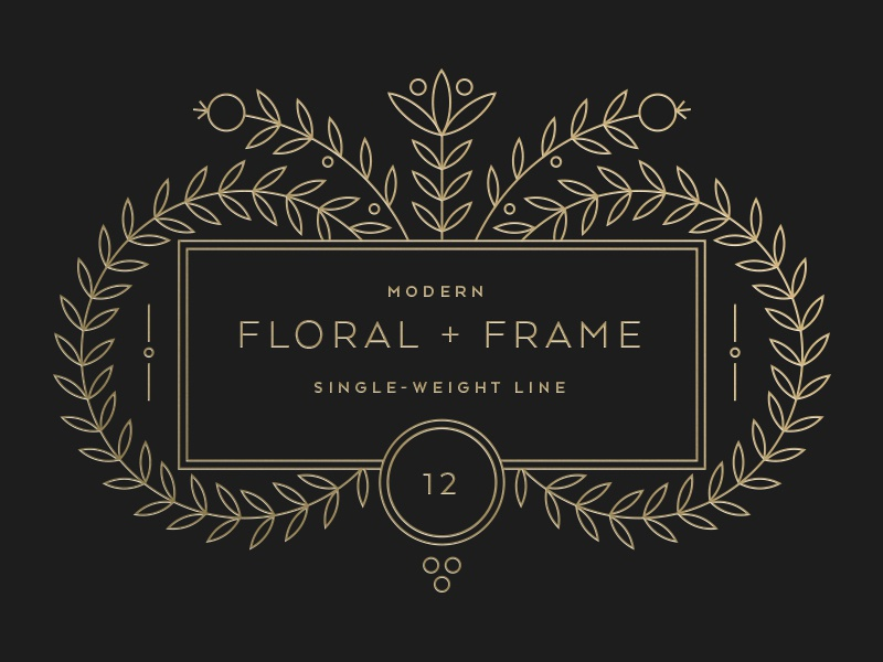 Floral + Frame wedding invitation creative market for sale frame illustration stock single-weight line vector