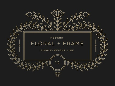 Floral + Frame wedding invitation creative market for sale frame illustration stock single-weight line vector