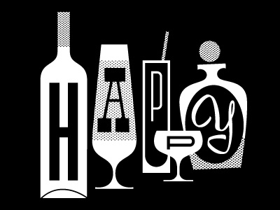 Happy Hour drinks drinking happy hour cocktails glasses wine bottles illustration retro vintage alcohol