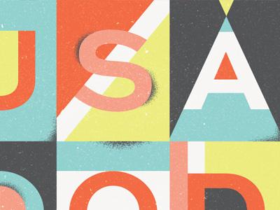 Wander Postcard type illustration texture vintage geometric colorful wander postcard the beatles lyrics