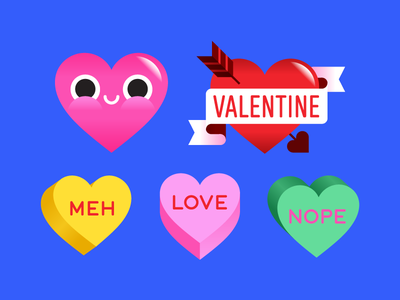 Facebook Valentine's Day Stickers conversation hearts valentine hearts love illustration holidays valentines day vector