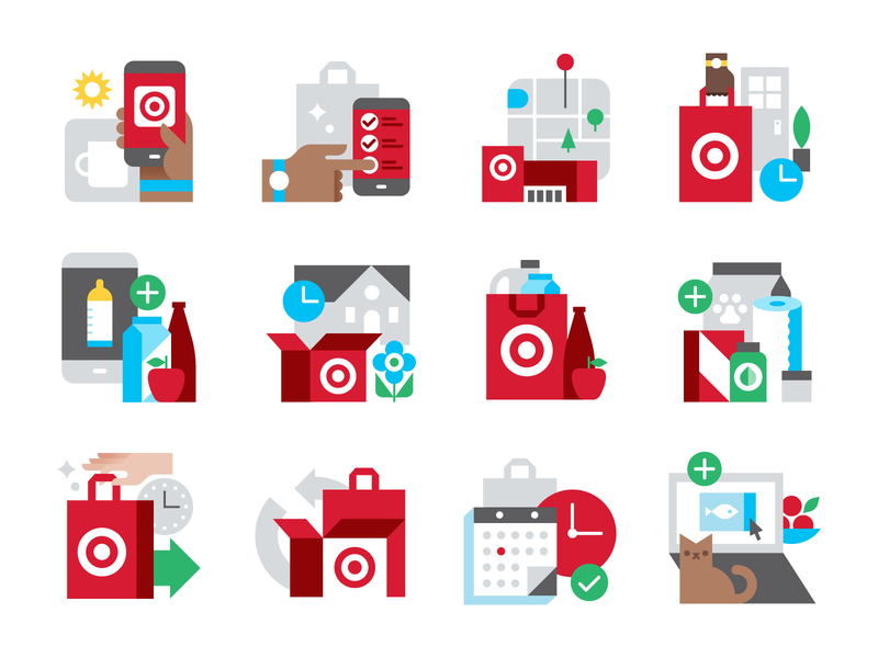 Target Icons illustration shopping online app retail vector icons target