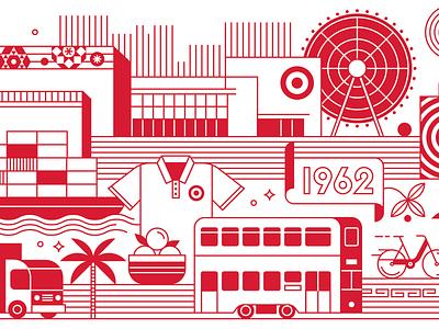 Target - Hong Kong Office Mural hong kong vector line work target mural