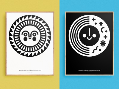 Sun & Moon Art decor illustrations poster design graphic bold late early night morning moon sun poster screenprint illustration kids art art