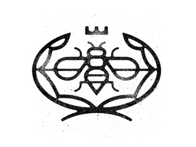 Bee bee insect crest logo branding icon grit stamp