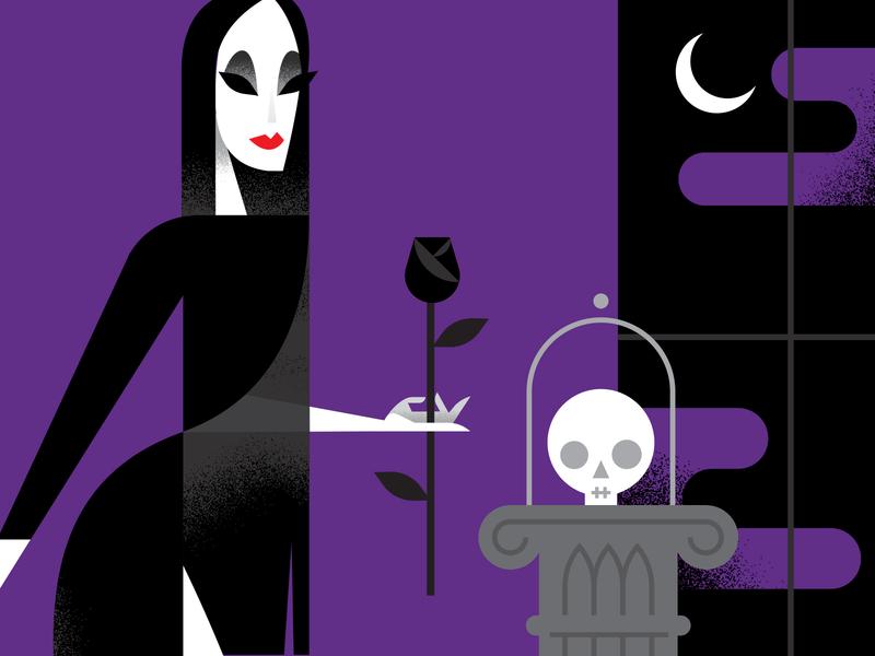 Morticia movie addams family vector illustration spooky vector halloween morticia