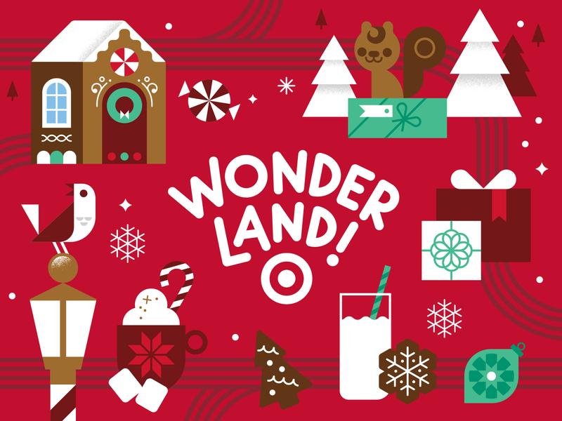 Target Wonderland target christmas tree festive holiday christmas vector kids illustration