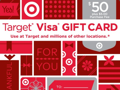 Target Visa Gift Card illustration gifts gift presents gift card target fun festive wrapping paper bows ribbon packaging