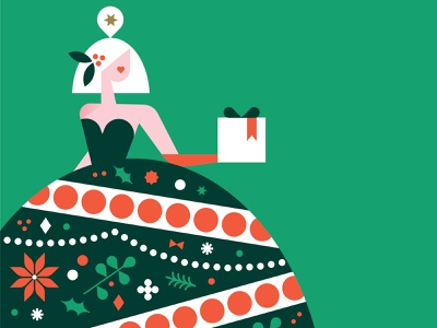 Lady Christmas woman decorate simple modern vector holiday christmas vintage design illustration