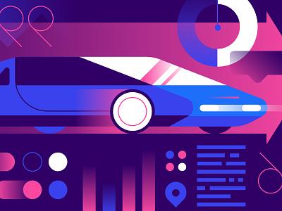 IDEO Blog - Talking Cars gradients car future vector illustration