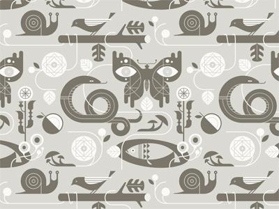 Summertime summertime summer pattern illustration snake butterfly flowers bird snail mushrooms leaves pillow