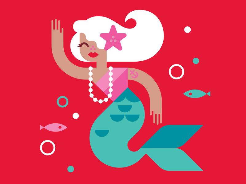 Market Pantry Mermaid underwater vector design target kids illustration mermaid