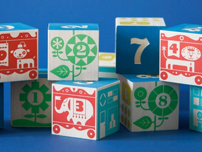 Uncle Goose Count & Stack Number Blocks illustration blocks kids counting toys vintage circus buildings flowers plants