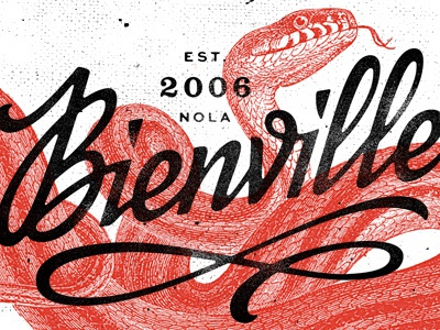 Bienville Identity branding identity grit rough vintage script